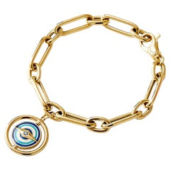 Syna Yellow Gold Reversible Evil Eye Rounded Paper Clip Bracelet