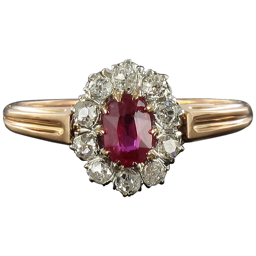 French Antique Ruby Diamond Gold Engagement Ring at 1stdibs