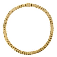 1960s Retro 18 Karat Yellow Gold Articulated Scale Necklace