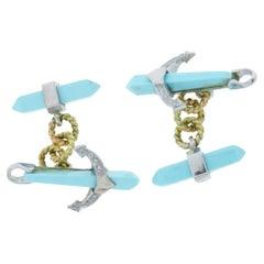 Diamonds, Turquoise, 14 Karat White and Yellow Anchor Shape Cufflinks