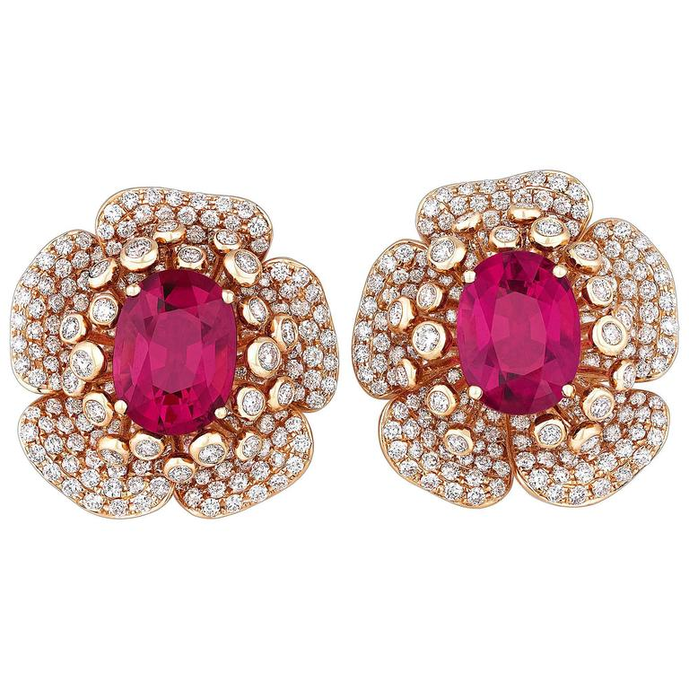 Rubellite Diamond Gold Flower Petal Earrings 1