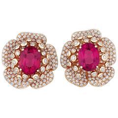 Rubellite Diamond Gold Flower Petal Earrings