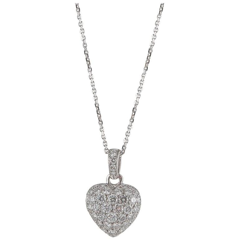 Cartier Diamond Gold Heart Necklace For Sale