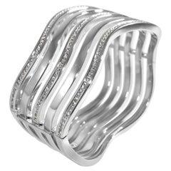 Matthia's & Claire Huge 18k White Gold and Diamonds 5 Wave's Cuff