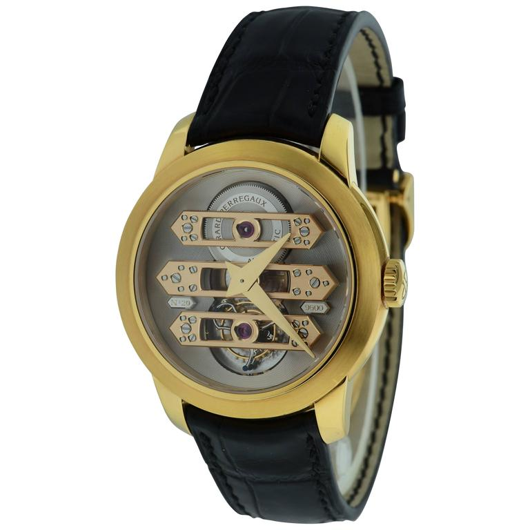 Girard Perregaux Rose Gold Triple Bridge Tourbillon Wristwatch  For Sale