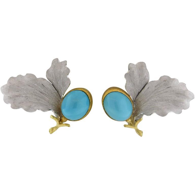 Buccellati Turquoise Gold Leaf Earrings