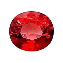 4.37 carats EGL Certified Orange Red Sapphire Oval Cut