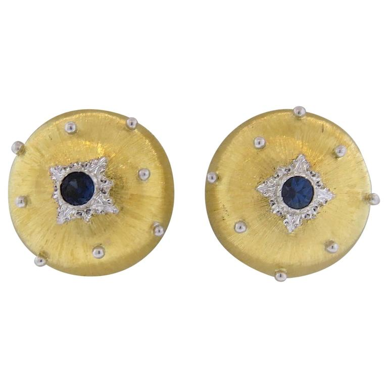 Buccellati Sapphire Gold Button Earrings