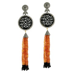 Hand Carved Onyx and Orange Sapphire Tassel Earring with Diamonds in Gold Silver