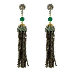 Designer Smoky Quarts Tassel Earring Diamonds and Tsavorite in Silver and Gold
