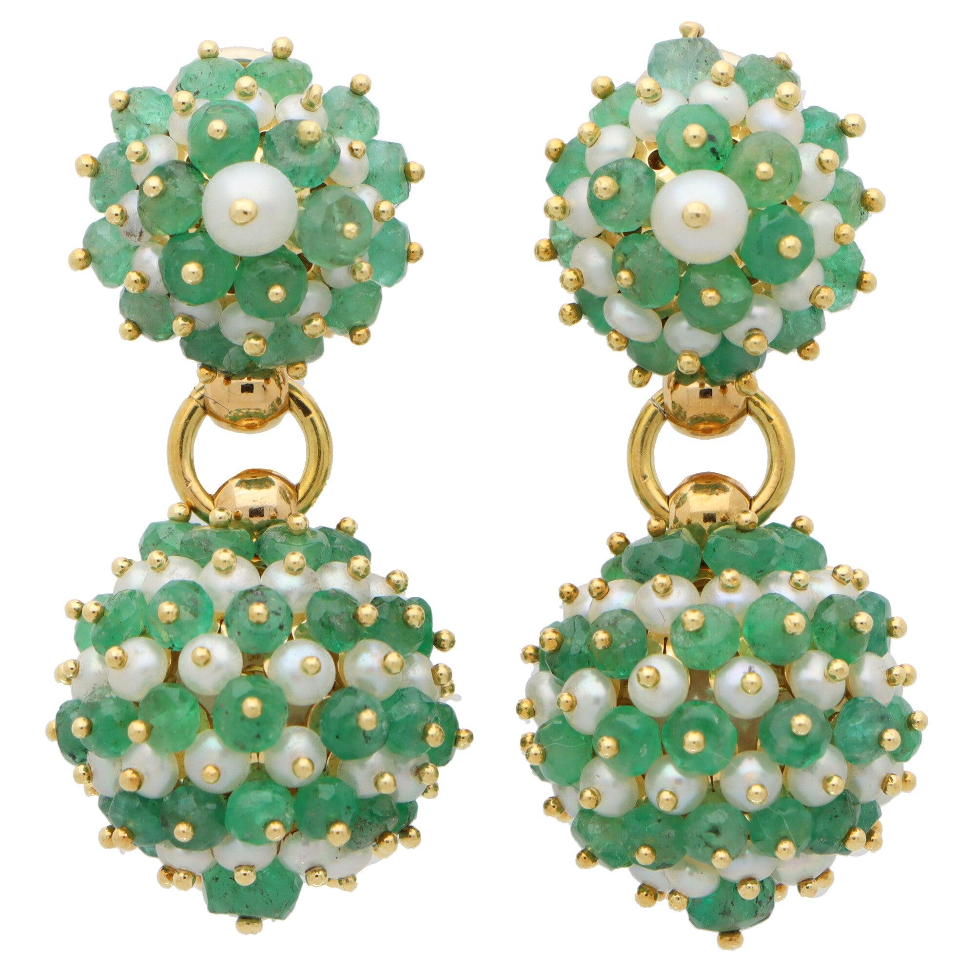 Vintage Emerald and Pearl Drop Ball Earrings Set in 18k Yellow Gold