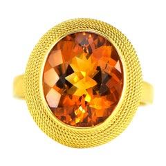 18 Karat Yellow Gold Citrine Braided Fashion Ring