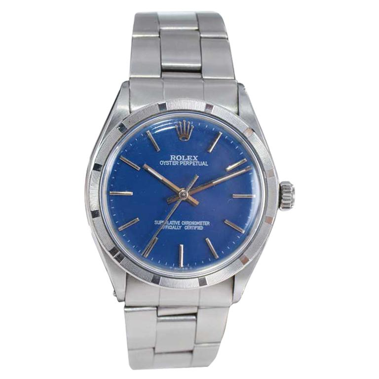 Rolex Steel Oyster Perpetual Thunderbird Bezel Custom Blue Dial, Early 1970's For Sale