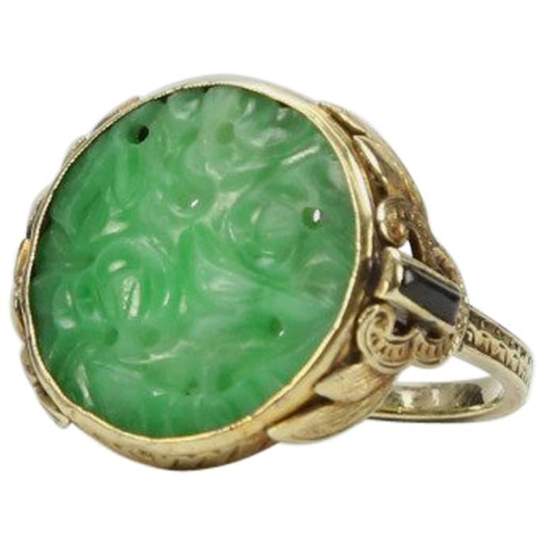 Antique Edwardian Carved Jade Onyx Gold Ring