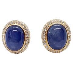 Cabochon Blue Sapphire with Diamond Earrings Set in 18 Karat Gold Settings