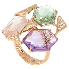 18kt Rose Gold Les Gemmes Multicolor Ring with Amethyst and Diamonds