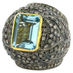 Diamond and Topaz Dome Cocktail Ring in Silver and 14k Gold