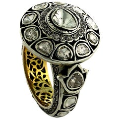 Victorian Looking Designer Rose Cut Diamond Ring in Silver and Gold