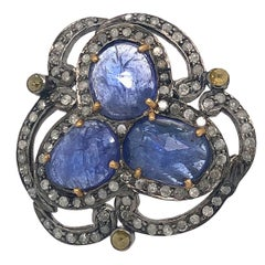 Designer Sliced Tanzanite and Diamond Ring in Gold and Silver