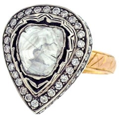 Antique Victorian Looking Rosecut Solitaire Diamond Ring in Gold and Silver