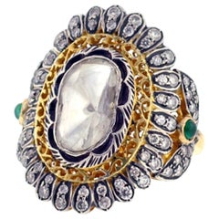 Vintage Looking Rosecut Diamond Floral Design Ring in Gold and Silver