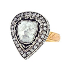 Rose Cut Diamond Solitaire Cocktail Ring Set in Gold and Silver