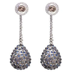 Drop Shape Designer Diamond and Moonstone Earring in Gold and Silver