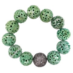 Carved Jade and Pave Diamond Stretchable Bracelet in Silver