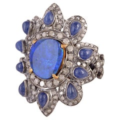 Sweet Bright Floral Design Opal Ring with Diamonds Set in Silver and 18K Gold