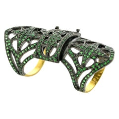 Modern and Designer Tsavorite Long Ring Set in Silver and 18K Gold