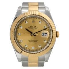 Rolex 116333 Datejust II 18k Two Tone Champagne Diamond Dial Watch