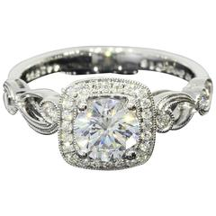 Simon G. Cushion Halo GIA Cert .76 Carat Diamond Gold Engagement Ring