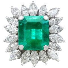 1990s 4.30 Carat Emerald Diamonds Gold Cluster Ring