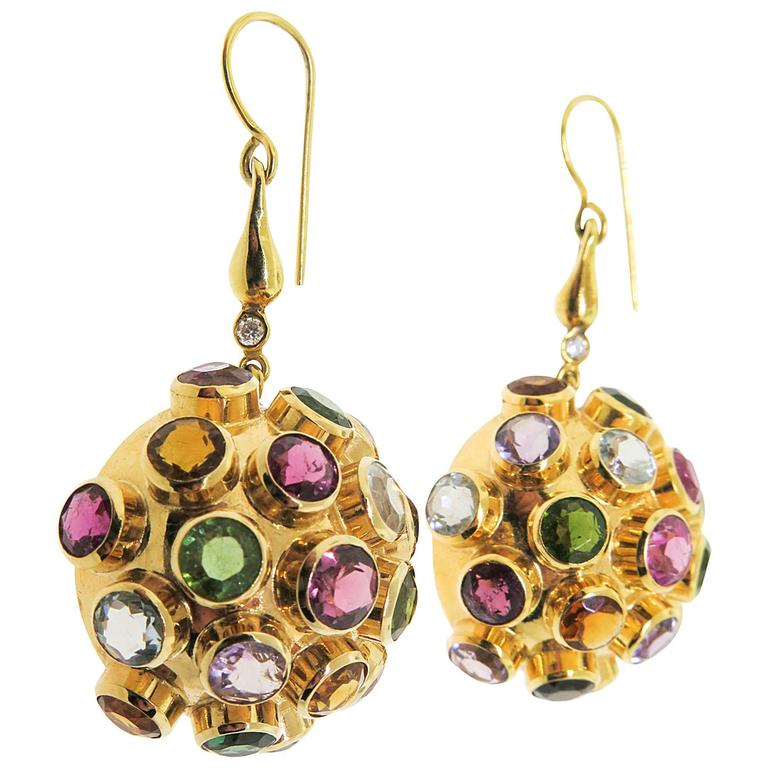 Multicolor Gemstone Diamond Gold Drop Earrings