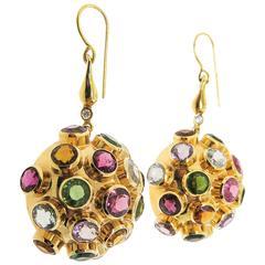 Multicolor Gemstone Diamond Gold Drop Earrings
