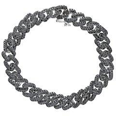 18K Rose Gold Link Bracelet Pradera with Black Diamonds