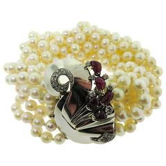 Multi-strand Pearls Torsade White Gold Bracelet