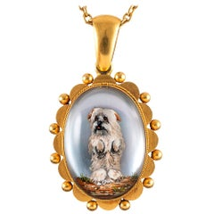 Victorian Reverse Carved Dog Locket Pendant