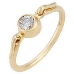 Tiffany & Co Elsa Peretti .25 Carat Diamond Yellow Gold Swan Engagement Ring