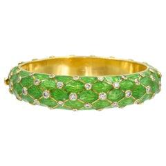 Tiffany & Co. Jean Schlumberger Gold, Green Enamel and Diamond Bangle