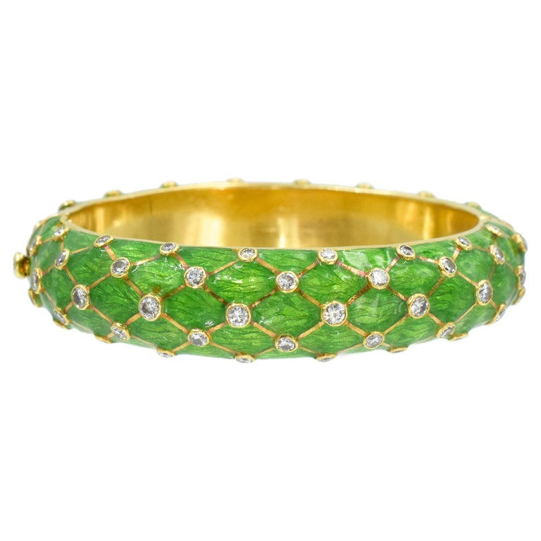 Tiffany & Co. Jean Schlumberger Gold, Green Enamel and Diamond Bangle For Sale