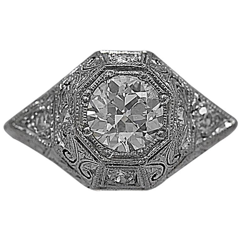 .87 Carat Diamond Art Deco Platinum Antique Engagement Ring