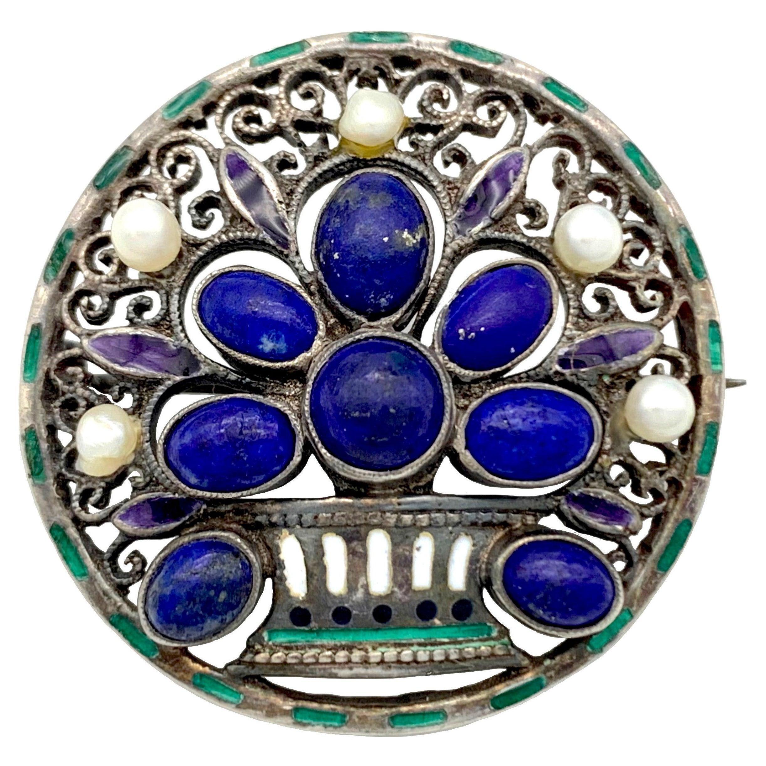 Art Nouveau 1910 Silver Lapis Lazuli Enamel Pearl Flower Basket Brooch Enamel