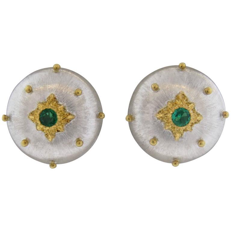 Buccellati Emerald Gold Button Earrings 1