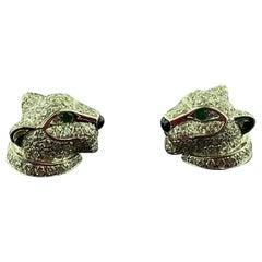 "Signed Cartier ""Panthere de Cartier"" Diamond Earrings"