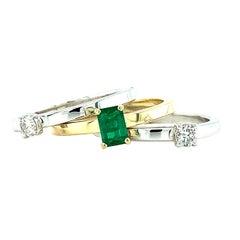 .30 Carat Emerald, Diamond Princess Yellow White Gold Stacking Band Rings