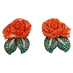 Coral with Tsavorite and Diamond Flower Earrings Set in 18 Karat Gold Settings