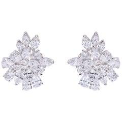 18 Karat White Gold 5.97 Carat Diamond Modulation Cocktail Stud Earrings