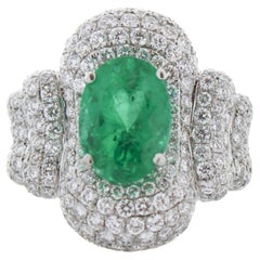 2.87 Carat Oval Emerald & Diamond Cocktail Ring in 18K White Gold