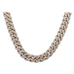 27 Carat Diamond Pave Cuban Chain Necklace 10 Karat in Stock